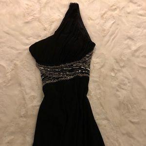 Backless floor length body con dress